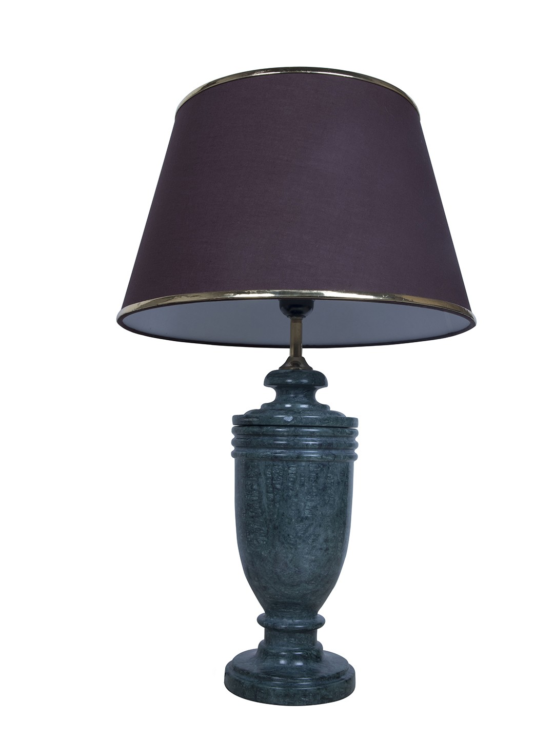 Green Marble Trophy Table Lamp with Gold Brown Shade