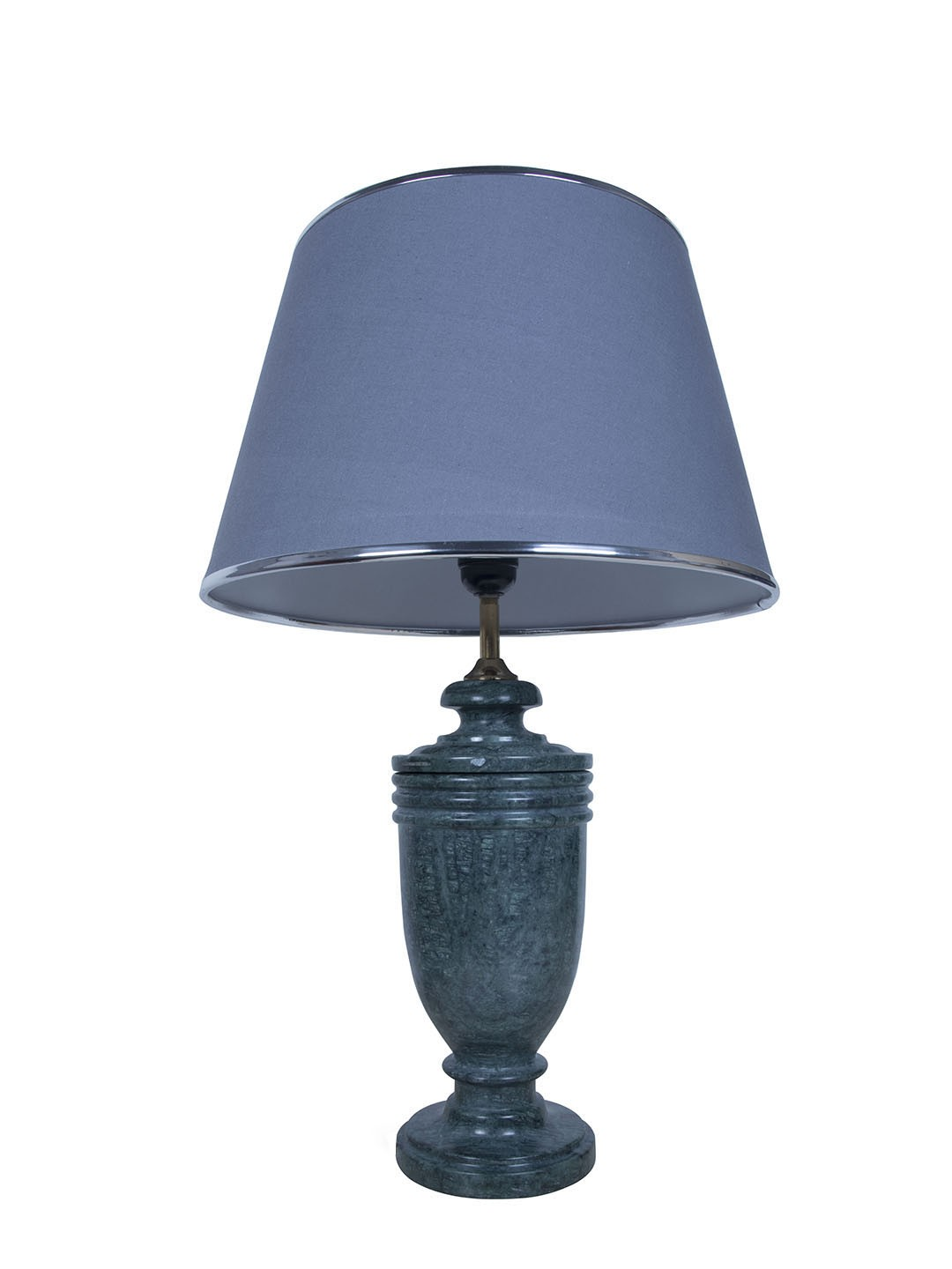Green Marble Trophy Table Lamp with Chrome Grey Shade