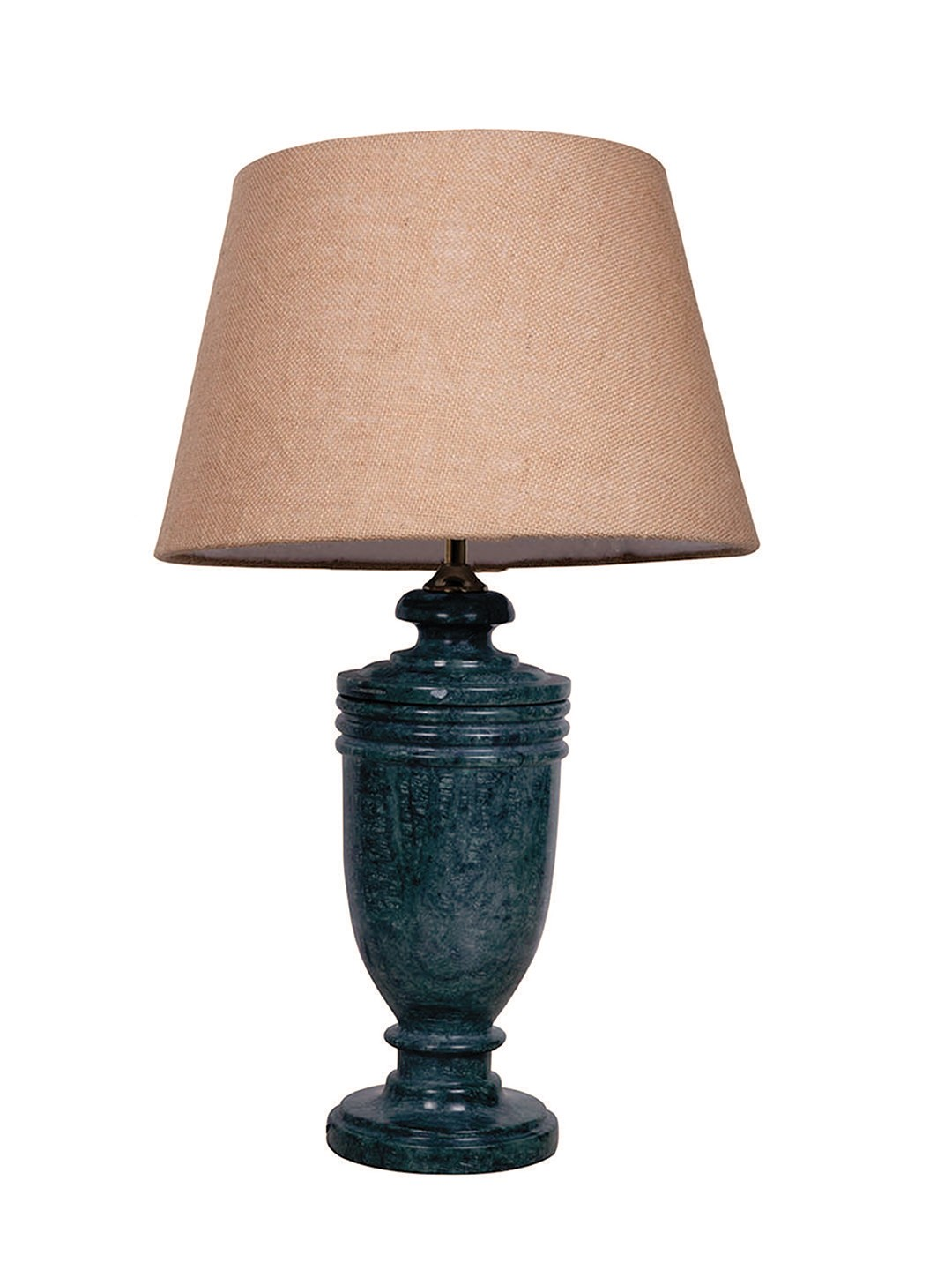 Green Marble Trophy Table Lamp with Jute Shade