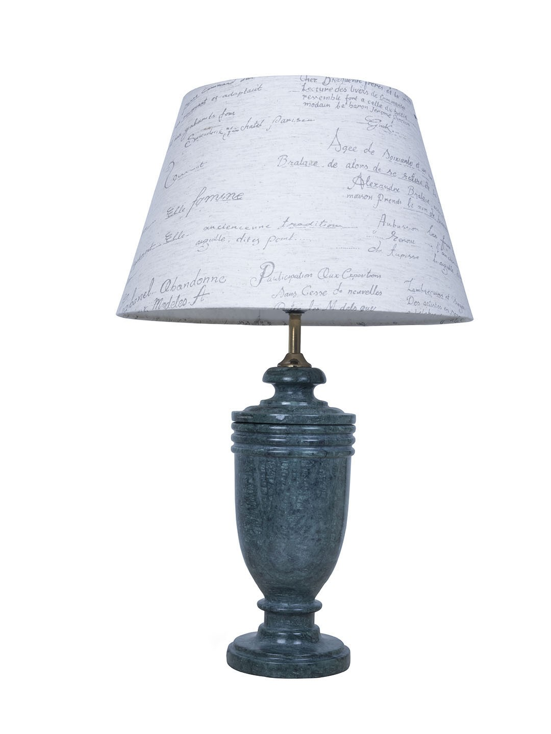 Green Marble Trophy Table Lamp with Calligraphy Shade