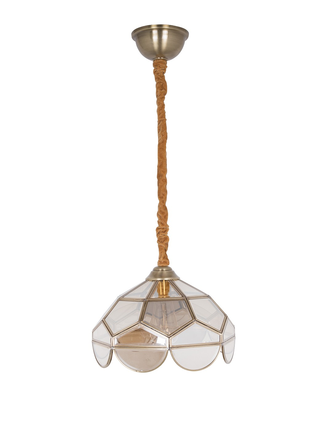 Brass Trim Lustrous Glass Dome Pendant Light