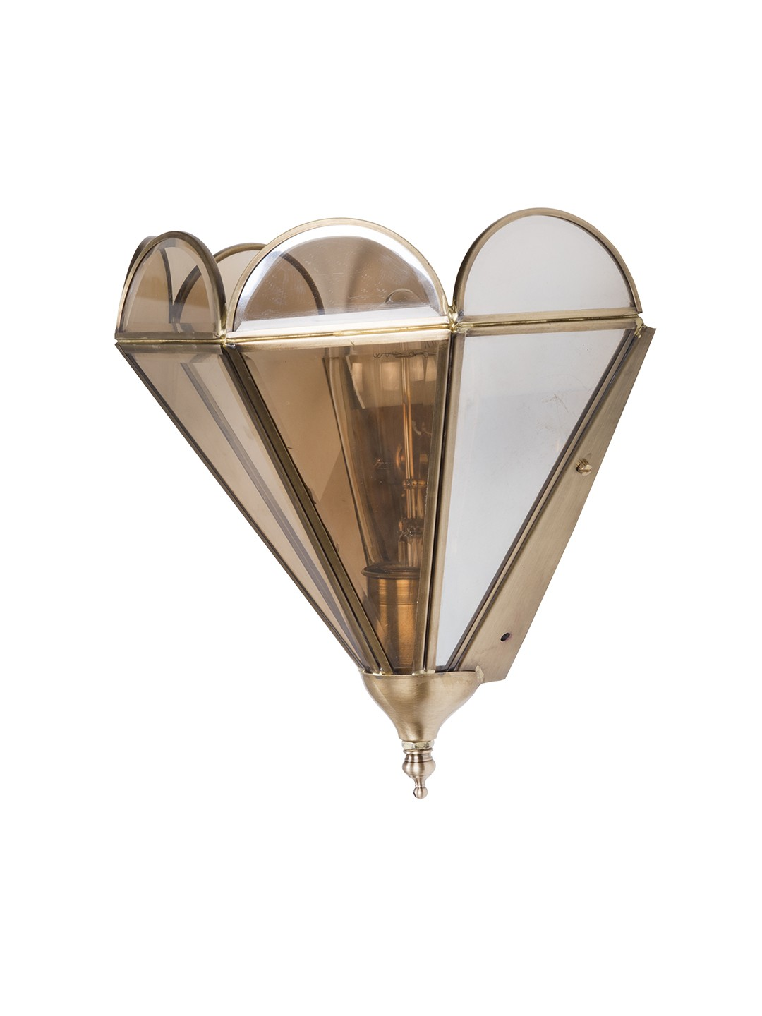 Brass Trim Lustrous Glass Half Cone Wall Sconce