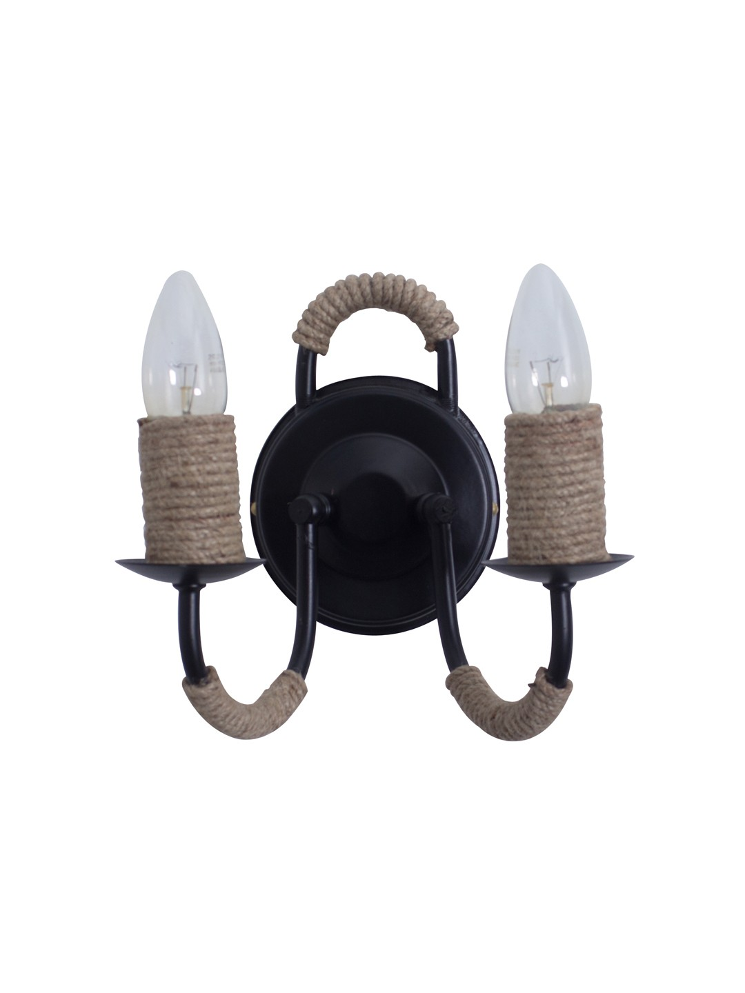 Beach House Rope Candelabra Black Double Wall Lamp