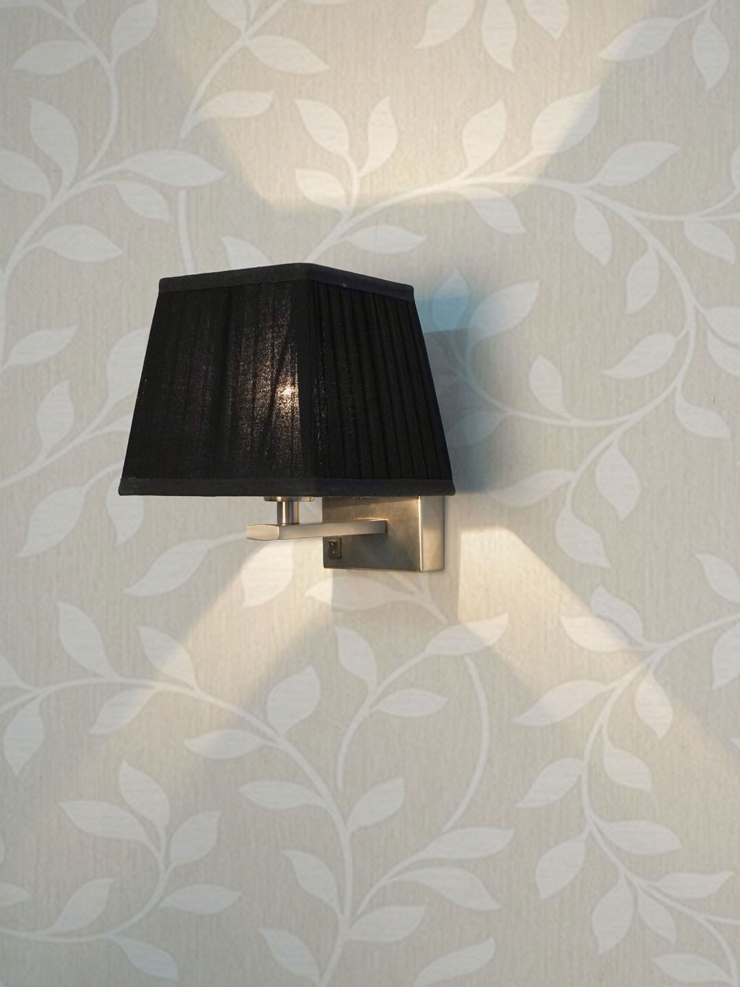 Satin Steel Bedside Wall Light with Black Pleated Square Fabric Shade
