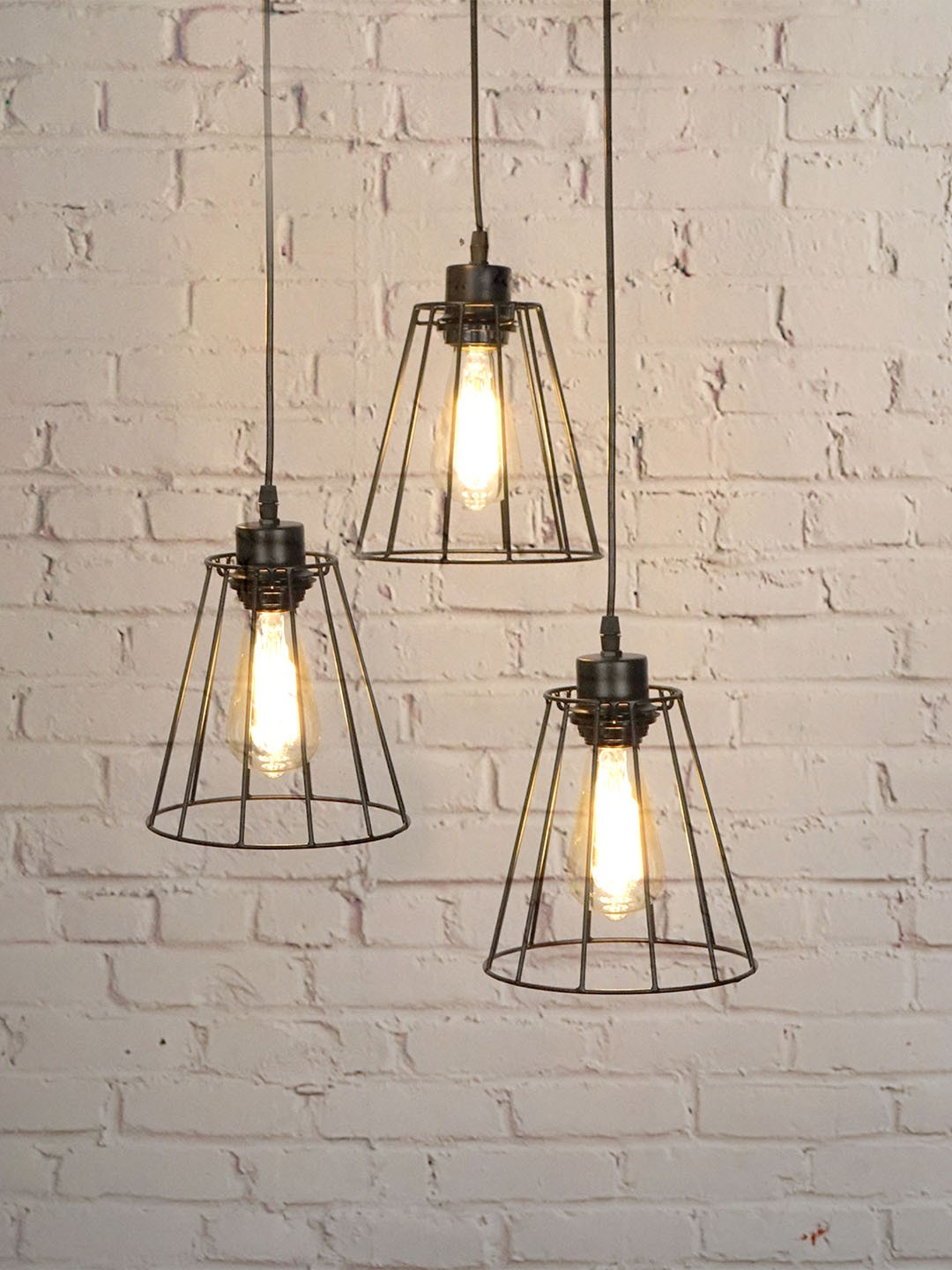 Cluster of 3 Industrial Metal Wire Black Shade Hanging Light