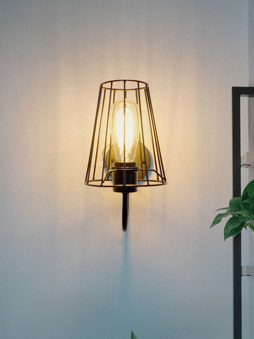 Industrial Metal Wire Black Shade Wall Light