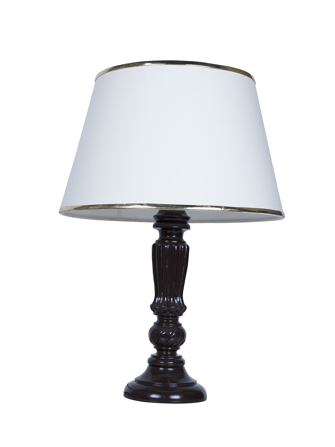 Brown Distressed Country Table Lamp with Gold Cream Shade