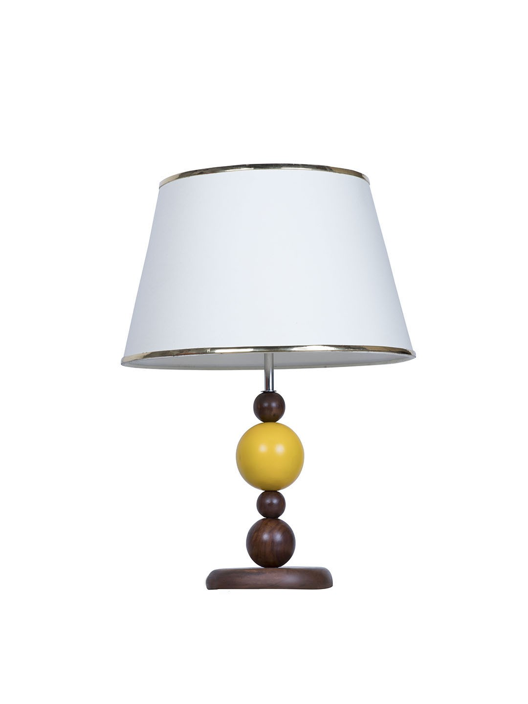 Yellow Ball Wood Table Lamp with Gold Cream Shade