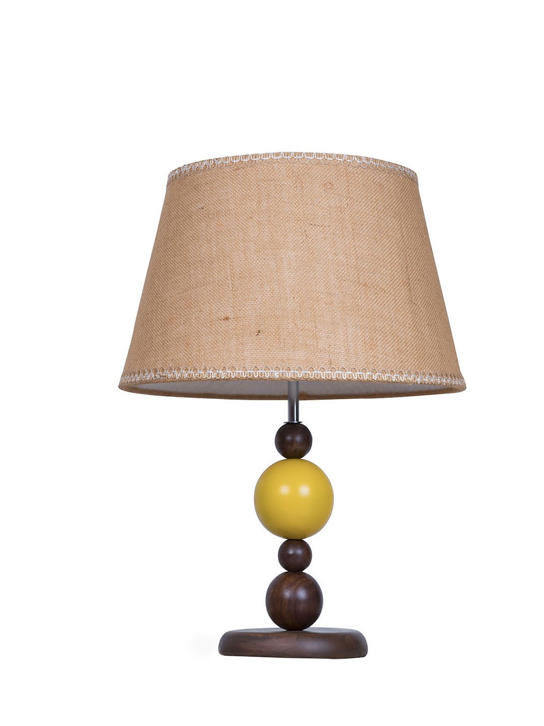Yellow Ball Wood Table Lamp with Jute Lace Shade