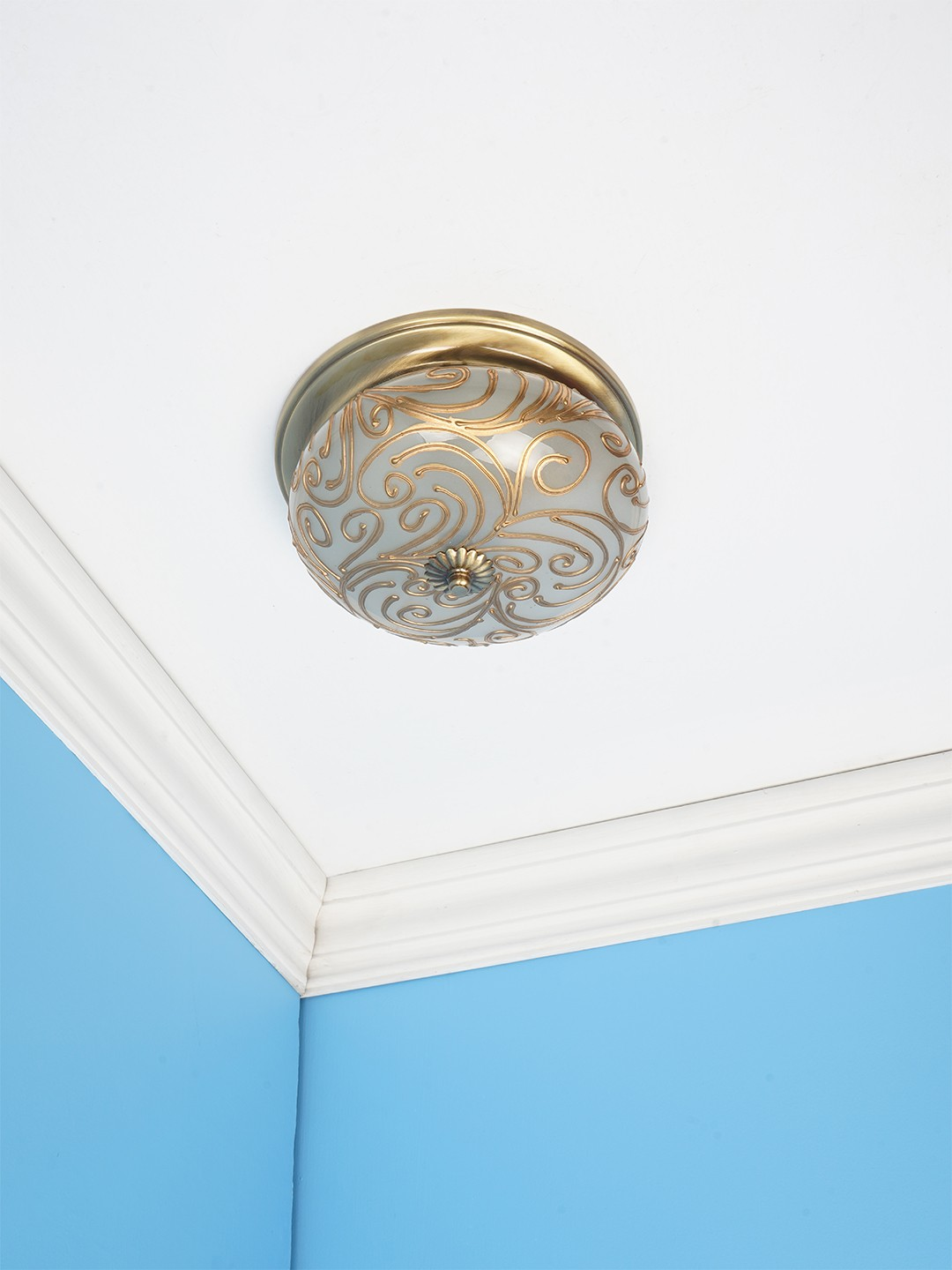 Hand Painted Jaipuria Brass Ceiling Lamp - Small