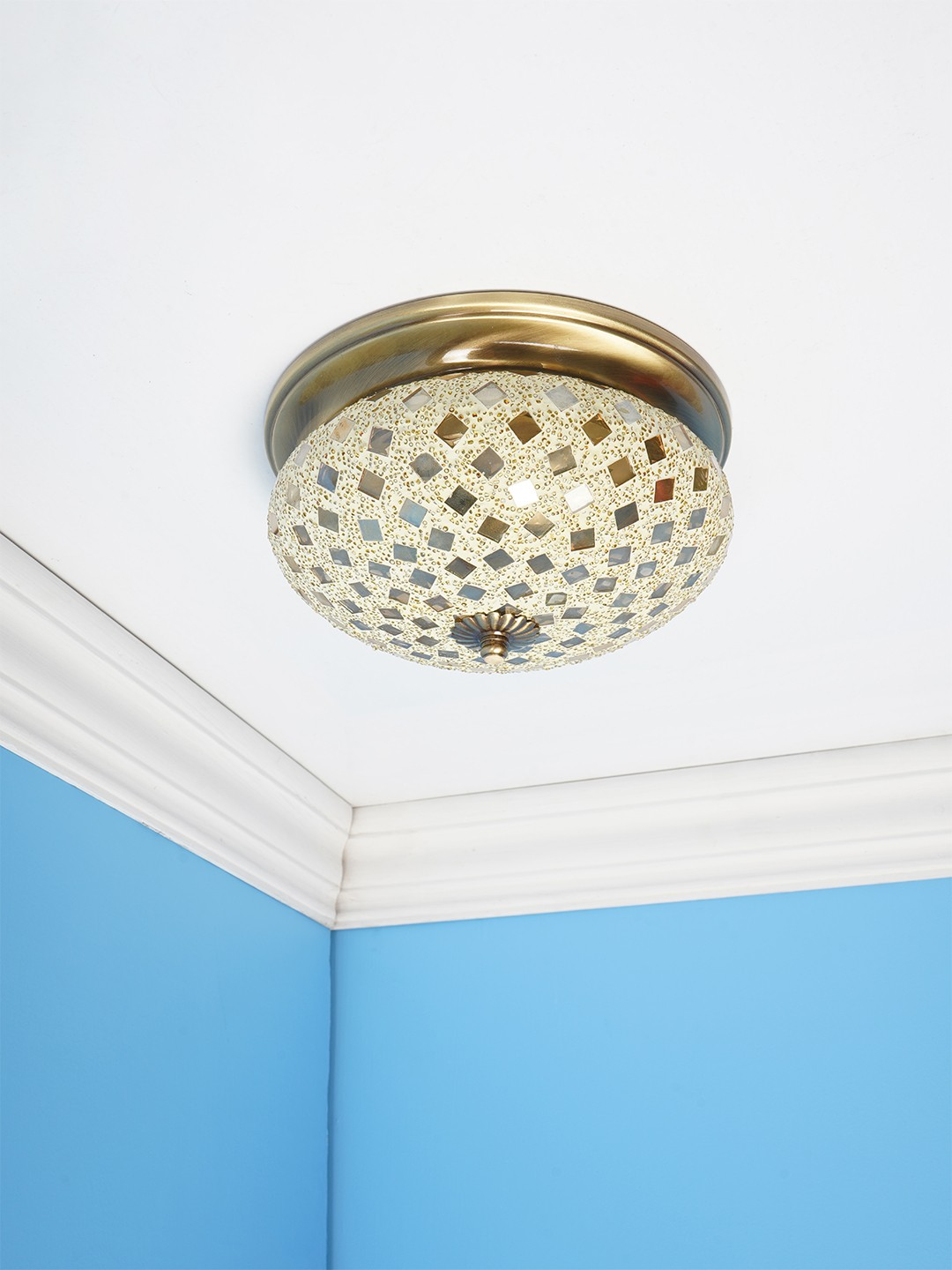 Golden Mosaic Brass Ceiling Light - Large