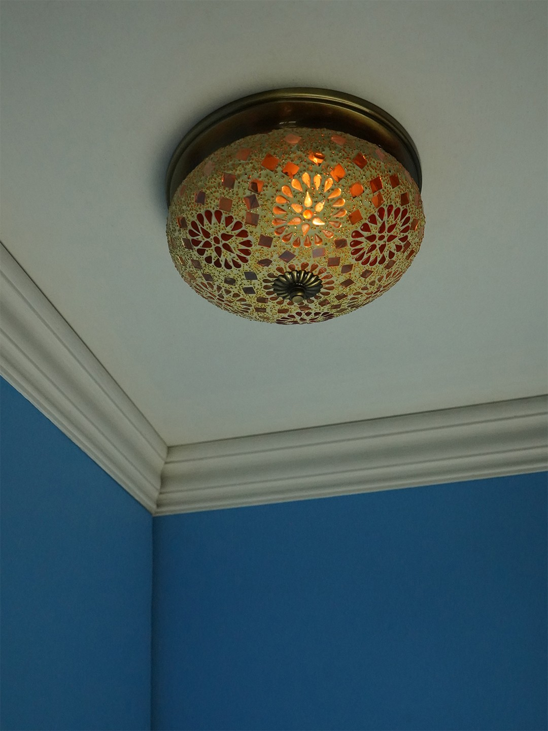 Tilak Mosaic Brass Ceiling Lamp - Large