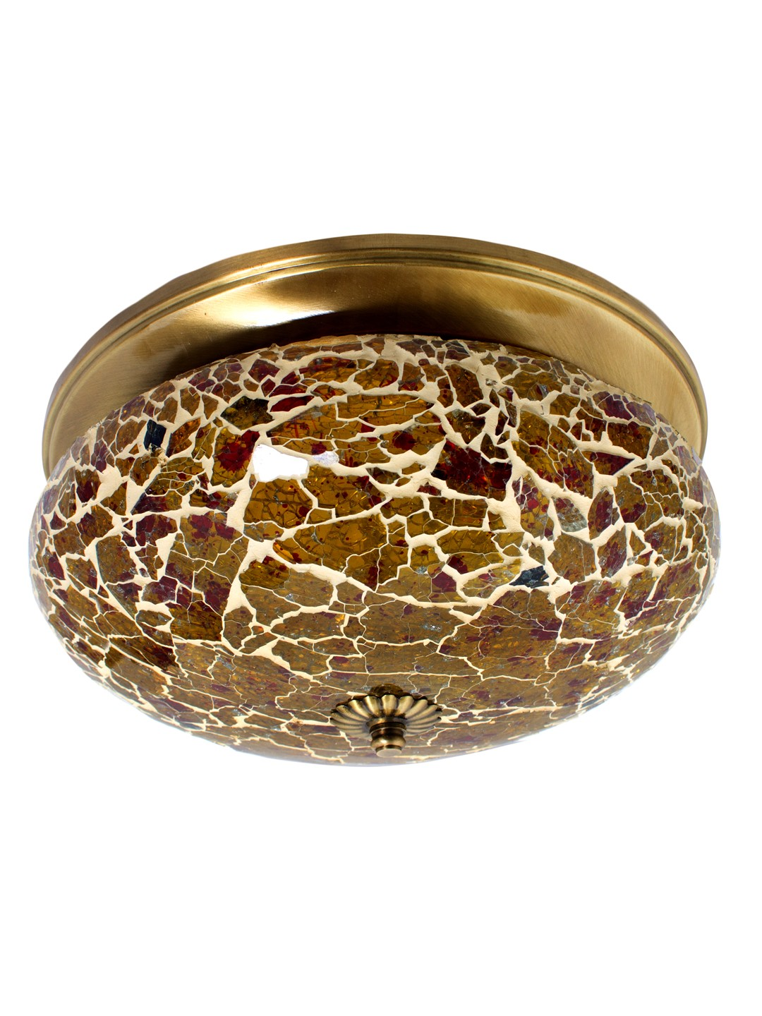Fiery Mosaic Glass and Brass Flush Mount Ceiling Lamp